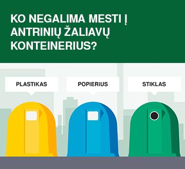 Ko negalima mesti į antrinių žaliavų rūšiavimo konteinerius?
