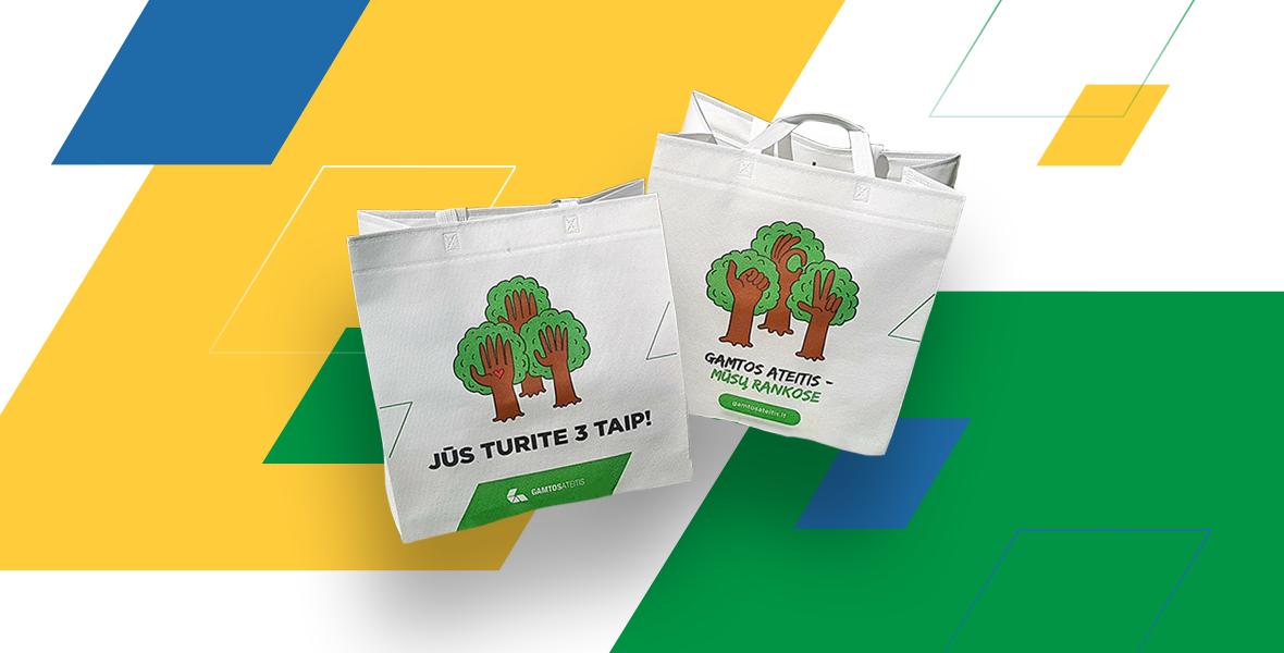 """Daugkartiniai pirkinių maišeliai su užrašu """"Jūs turite 3 TAIP"""" – Lietuvos savivaldybių gyventojams"""