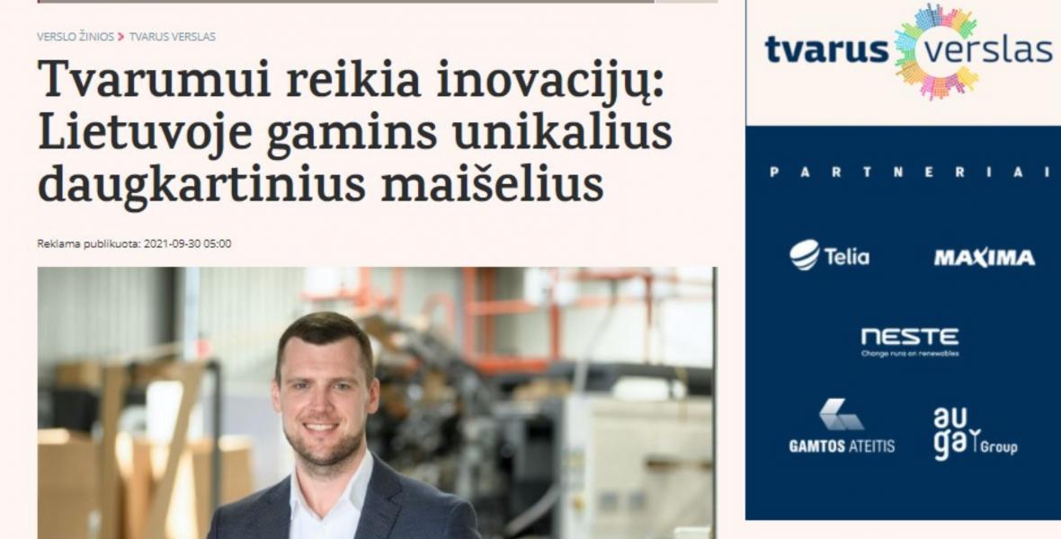 Tvarumui reikia inovacijų: Lietuvoje gamins unikalius daugkartinius maišelius